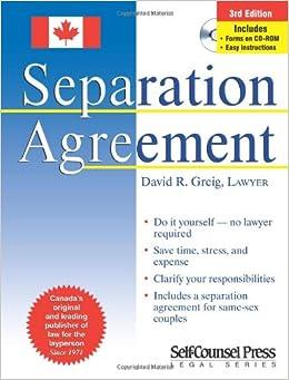 Separation agreement david r greig 0069635807897 books amazon solutioingenieria Images