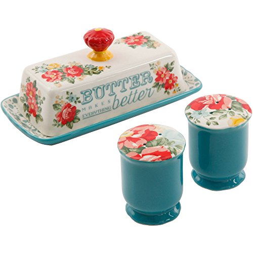 The Pioneer Woman Vintage Floral Salt and Pepper and Butter Dish Set 518i BfAiPL