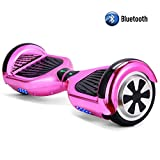 STF-Life UL 2272 Certified Hoverboard with Bluetooth Speaker and LED Lights, Smart Personal Two- Wheel Electric Self Balancing Scooter Transporter for Kids and Adults- Chrome Pink