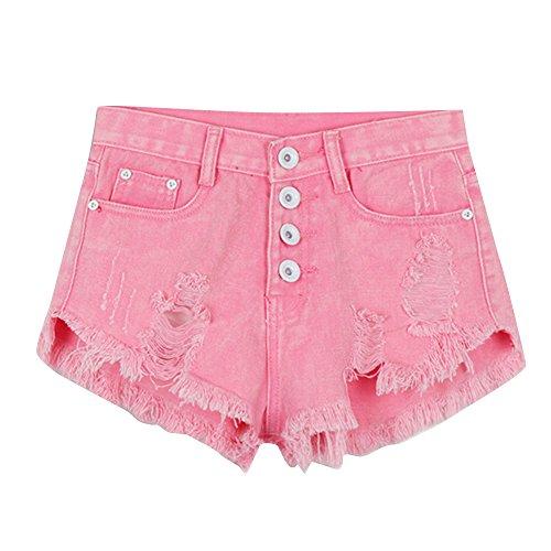 laamei t Femmes Jeans Shorts Pantalons Dchir Trou Taille Haute Hot Denim Mini Courts Pantalon de Plage Rose