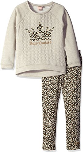 Juicy Couture Little Girls' French Terry Knit Top and Animal Print Pant Set, Oatmeal, (Kids Couture Clothing)