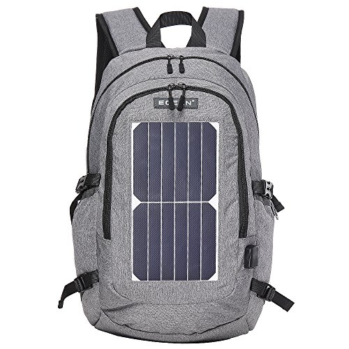 ECEEN Solar Powered Business Laptop Backpack Slim Computer Bag College School Backpack Eco-friendly Travel Shoulder Bag with 7 Watts Solar Panel & USB Charging Port Fits UNDER 15.6'' Laptop & Notebook by ECEEN (Image #1)