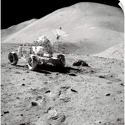 - CANVAS ON DEMAND Astronaut Works at The Lunar Roving Vehicle During an Apollo Moonwalk Wall Peel Art Print, 48