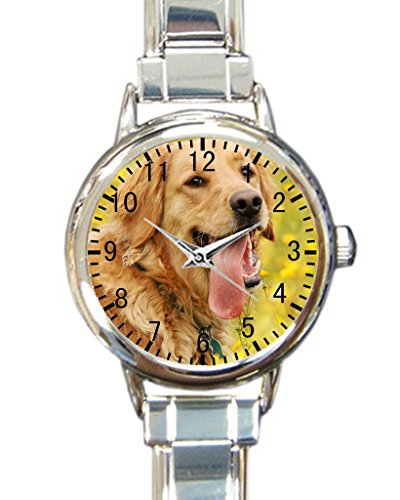 Golden Retriever Custom Round Charm Wrist Watch Waterproof Womens Wrist Watch for Pug Dog Puppy Lovers