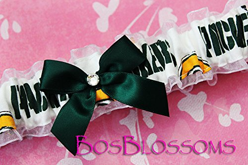 (Customizable - Green Bay Packers white print fabric handmade into bridal prom white organza wedding garter with green)