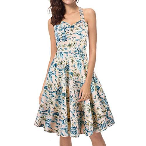 - Women's Halter Dresses Sleeveless Bandeau Slim-Fit Summer Casual Vintage Dress Jasmine Flower Print Tank Aline Dress White