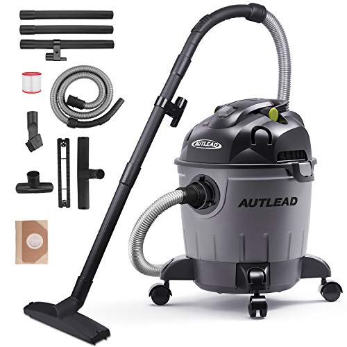 AUTLEAD Wet Dry Vacuum WDS01A 5 Gallon Pure Copper Motor 5.5 HP Wet/Dry/Blow 3 in 1 Shop Vac, Stable Round Bucket Design with Pulley System, HEPA Disposable Bag, 3 Brush Included