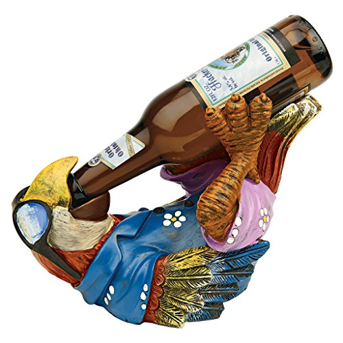 Design Toscano Beer Buddy Tropical Tiki Parrot Bottle Holder Statue, 10 Inch, Polyresin, Full Color (Tropical Hut)