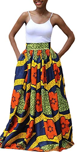 IF FEEL Women Abstract Casual Floral African Print A-Line Navy Maxi Flared Skirt ((US 14-16)XL, colorful)
