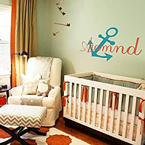MairGwall Nautical Personalized Name Monogram Baby Boy or Girl Wall Decal with Boat Anchor