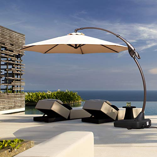 - Grand Patio Offset Patio Umbrella,11 FT Curvy Outdoor Aluminum Cantilever Umbrella with Base,Champagne