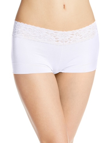 (Maidenform Women's Dream Cotton with Lace Boyshort, White,)