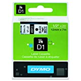 "DYMO D1 High-Performance Polyester Removable Label Tape, 1/2"" x 23', Black Print on White Tape (45013)"