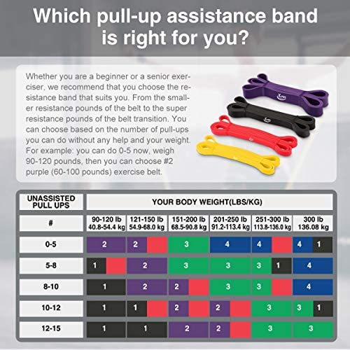 KMM Pull up Resistance and Assist Bands, Workout Bands | Powerlifting Bands,Mobility Stretch Bands,Exercise Band for Body Fitness Training,Chin Ups, Stretch