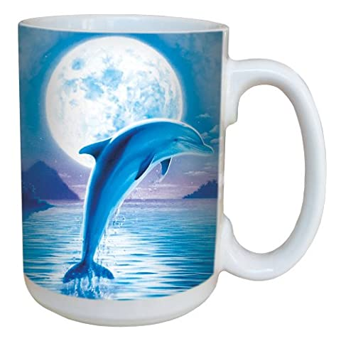 Dolphin Moon Coffee Mug - Large 15-Ounce Ceramic Cup, Full-Size Handle - Gift for Animal Lovers - Tree-Free Greetings - Animal Handle Mug