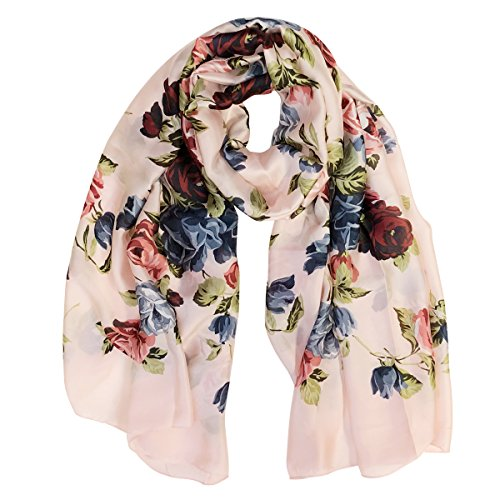 Wrapables Silk Like Satin Polyester Large Scarf Wrap, Floral Roses (Soft Floral Scarf)