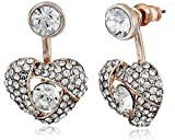 Betsey Johnson Pave Heart Rose Gold Front and Back Earrings Ear Cuffs