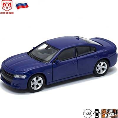 1:38 Scale Diecast Metal Model Car Dodge Charger Blue Russian Die-cast Toy Cars: Toys & Games