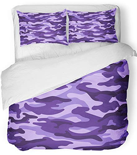 - Emvency 3 Piece Duvet Cover Set Breathable Brushed Microfiber Fabric Camo Military Camouflage Purple Monochrome Abstract Army Color Female Girlish Bedding Set with 2 Pillow Covers Full/Queen Size