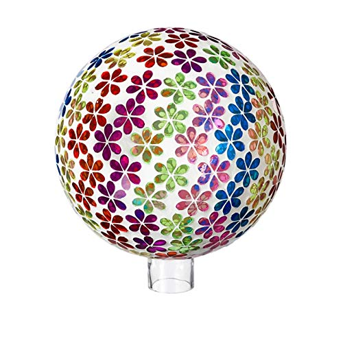 Evergreen Garden Mosaic Floral Brights 10 inch Glass Gazing Ball