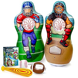 Super Pumped! Inflatable Double-Sided Baseball & Football Target Set   Blow Up Toy with Soft Football, Baseball & Inflatable Bat   Fun Toss Games for Indoor, Outdoor, Backyard & Party Favor   5 Feet