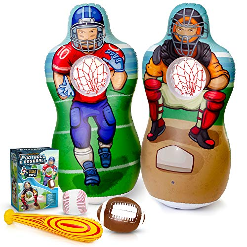 Football With Inflatable Balls (Super Pumped! Inflatable 2-In-1 Baseball & Football Target Set | Blow Up Toys with Soft Football, Baseball & Inflatable Bat | Fun Games for Indoor, Outdoor, Backyard & Party Favor)