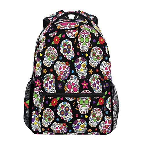 Wamika Sugar Skull Backpacks Day of The Dead Skeleton Laptop Book Bag Flower Casual Extra Durable Backpack Lightweight Travel Sports Day Pack for Men Women]()