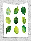 asddcdfdd Sage Tapestry, Watercolor Art Theme Set of Green Leaves Fresh Foliage Trees Forest Woods Ecology, Wall Hanging for Bedroom Living Room Dorm, 60 W X 80 L Inches, Green White