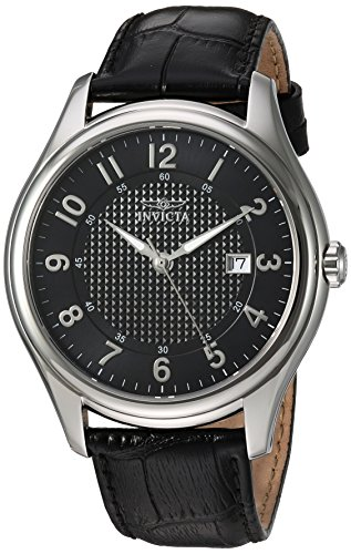 Invicta Men s Vintage Stainless Steel Swiss-Quartz Watch with Leather Calfskin Strap, Black, 22 Model 23016
