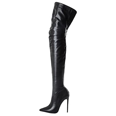 4a965322313 Artfaerie Women s Thigh High Over The Knee Boots Winter High Heels Pointed  Toe Long Boots(