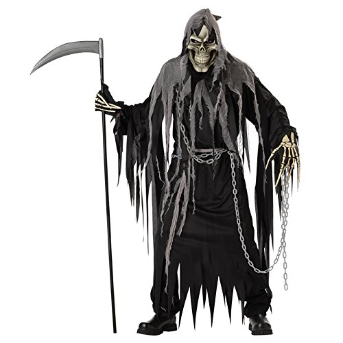Scary Skeleton Costumes - California Costumes Mr. Grim Costume, Black/Grey,One