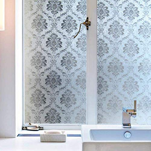 """Artviva Privacy Glass Window Film,Damask Pattern Window Cling,Frosted Window Film for Privacy/Insulation/Glare Control,Frosted Glass Film for Bathroom/Kitchen/Office 17.7""""x78.7"""""""