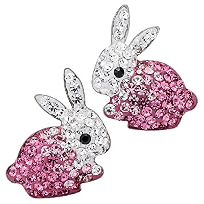Top YACQ 925 Sterling Silver Crystal Bunny Stud Earrings Easter Custome Jewelry for Women Girls … supplier