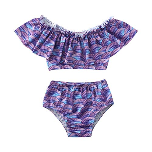 Tantisy ♣↭♣ Baby Girl Two Piece Swimsuit Toddler Kids Baby Girl Mermaid Bathing Suit Bikini Fish Scale Print Set Swimwear ()