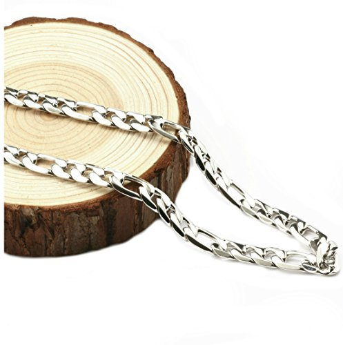 Figaro Chain Gold Chain Necklace 7mm Diamond Cut 24K 30X Thicker Than Any Overlay USA Made. (24)