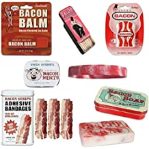 Deluxe Bacon Bath & Grooming Kit Gift Pack (6pc Set) - Bacon Bandages, Dental Floss, Soap, Toothpicks, Breath Mints & Lip Balm + Bacon Addict Silicone Wristband