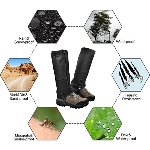 Leanking Leg Gaiters, Waterproof Snow Boot Gaiters 600D Anti-Tear Oxford Fabric Outdoor Waterproof Snow Leg Gaiters for Outdoor Hiking Walking Hunting Climbing Mountain (Black, L) by Leanking (Image #3)
