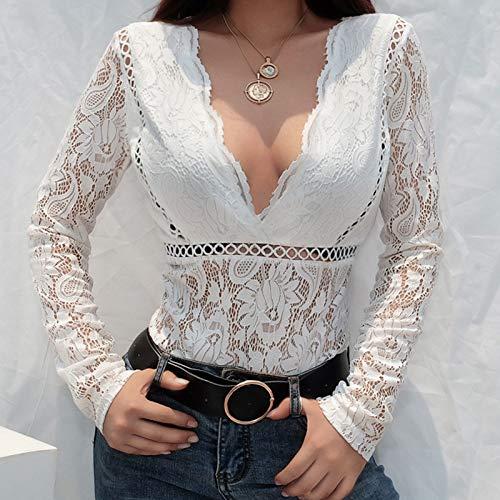 Longues Fathoit Creux Femme Body Combinaison Blanc Femme Combinaison V Neck Manches Chic Florale Mode Dentelle Chemisier xzOrw7Xz