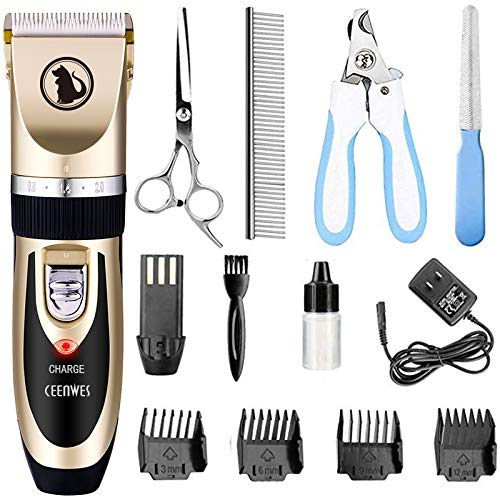 Ceenwes Low Noise Professional Dog Clippers (Cordless & Rechargeable)