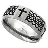 Jewelry : Sabrina Silver 8mm Titanium Wedding Band Celtic Knot Ring Domed with Crosses Brushed Finish Comfort Fit, Sizes 7-14