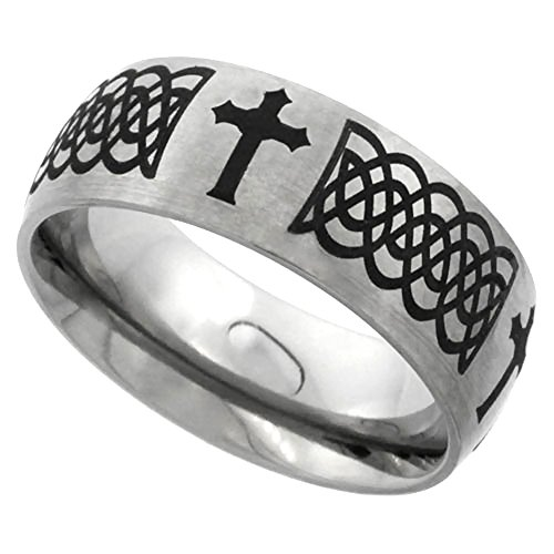 Sabrina Silver 8mm Titanium Wedding Band Celtic Knot Ring Domed with Crosses Brushed Finish Comfort Fit, size 10