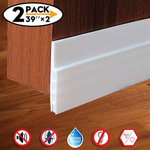 (2 Pack Door Draft Stopper Door Sweep for Exterior/Interior Doors, Door Seal Strip Under Door Draft Blocker Seal, Soundproof Door Bottom Weather Stripping Weatherproof, 2