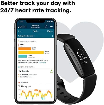 FITBIT INSPIRE 2 HEALTH & FITNESS TRACKER WITH A FREE 1-YEAR FITBIT PREMIUM TRIAL, 24/7 HEART RATE, BLACK/BLACK, ONE SIZE (S & L BANDS INCLUDED)