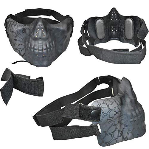 QZY Tactical Airsoft Casque Balistique - Double Straps Half Face Skull Mask - Lunettes, Armée Militaire Rapide PJ Casque… 5