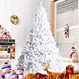 Goplus Artificial Christmas Tree Xmas Pine Tree with Solid Metal Legs Perfect for Indoor and Outdoor Holiday Decoration (White, 6 FT)