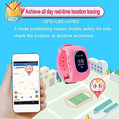 "TURNMEON 1.44"" Touch GPS Tracker Smart Watch Phone for Kids Boys Girls Gifts with SIM Solt Pedometer SOS Camera Bracelet Smartwatch Children Summer Sport Fitness Tracker Toys (Blue)"