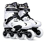 Inline Skates For Men Unisex Racing PP Material ABEC-9 Bearing Travel Urban Use White , 9.5