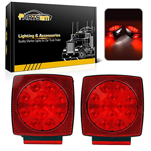 (Partsam 12V Waterproof Square Led Trailer Light,Red LED Stop Turn Tail License Brake Running Light Lamp for Trailers Under 80