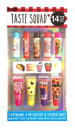 Taste Beauty Taste Squad Foodie Flavored Lip Balm Set (5 Lip Balms, 4 Lip Glosses, Puffy Sticker Sheet)