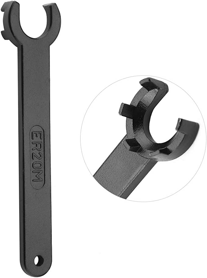 Yakamoz 2Pcs ER16 ER20 M Type Collet Chuck Wrench Spanner with Anti-slip Handle for ER16M ER20M Clamping Nut Milling Machine Lathe Chuck Holder Tools